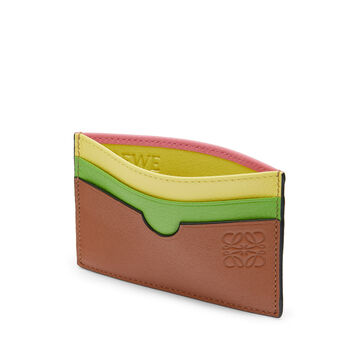 LOEWE Rainbow Plain Card Holder Tan/Multicolor front