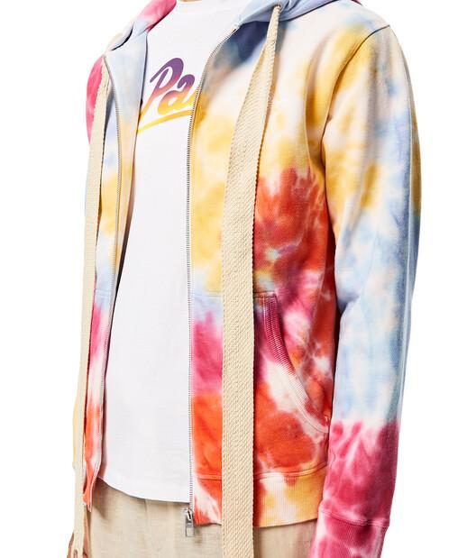 LOEWE Zip-Up Hoodie In Tie Dye Cotton Multicolor front