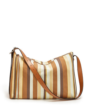 LOEWE 大号条纹BERLINGO手袋 Honey/Multicolor front
