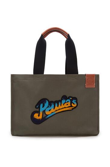 LOEWE Large Paula's Cabas bag in canvas Khaki Green pdp_rd