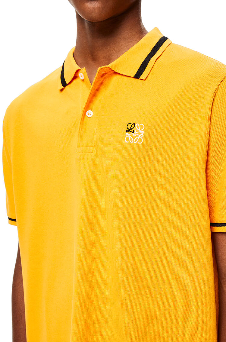 LOEWE Anagram embroidered polo in cotton Orange pdp_rd