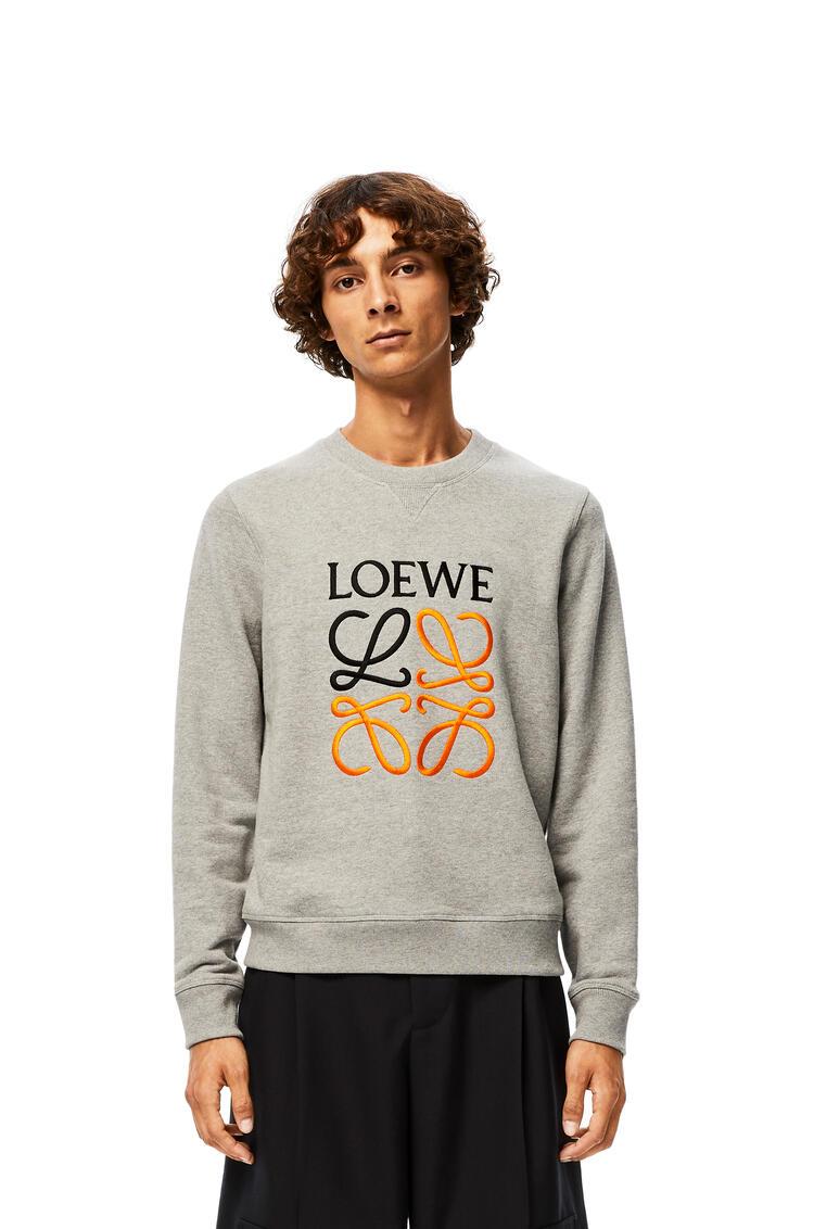LOEWE Anagram embroidered sweatshirt in cotton Grey Melange pdp_rd
