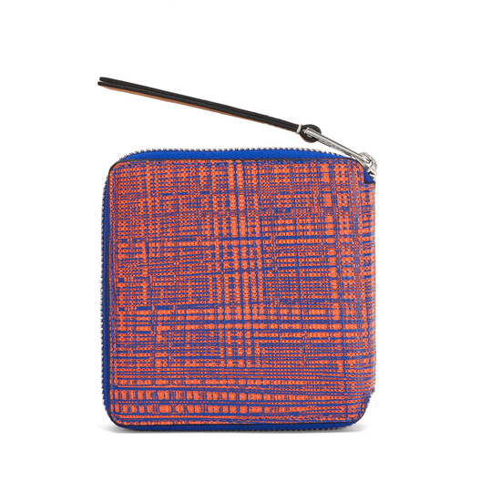 LOEWE Square Zip Wallet Electric Blue/Orange front