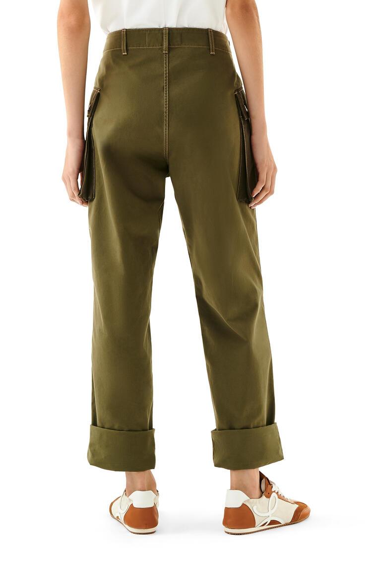 LOEWE Cargo Trousers In Cotton Khaki Green pdp_rd
