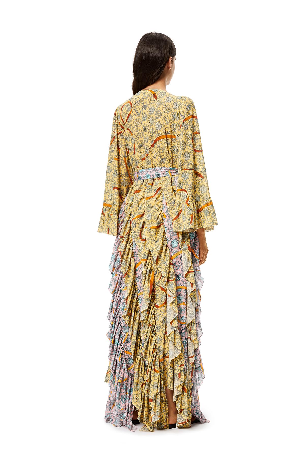 LOEWE Shield Bib And Ruffle Dress In Cotton Yellow/Pink front