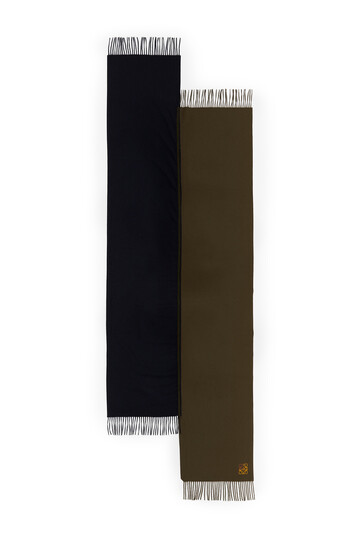 LOEWE 70X200 Asymmetric Scarf Marino/Verde Oscuro front