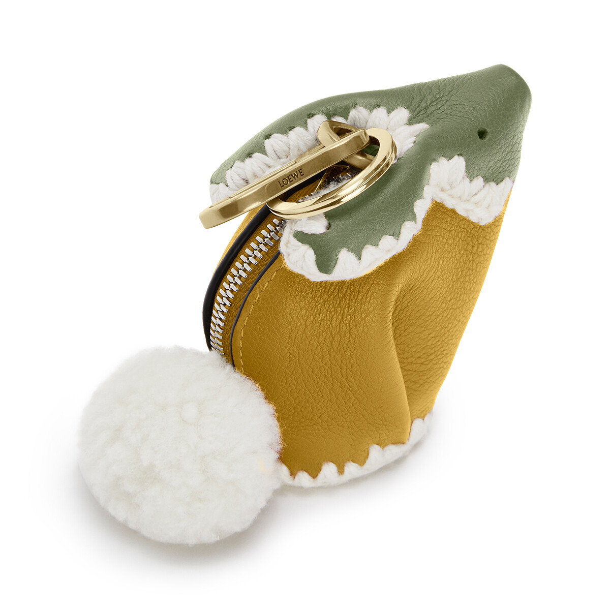 LOEWE Bunny Crochet Charm Ochre/Moss front