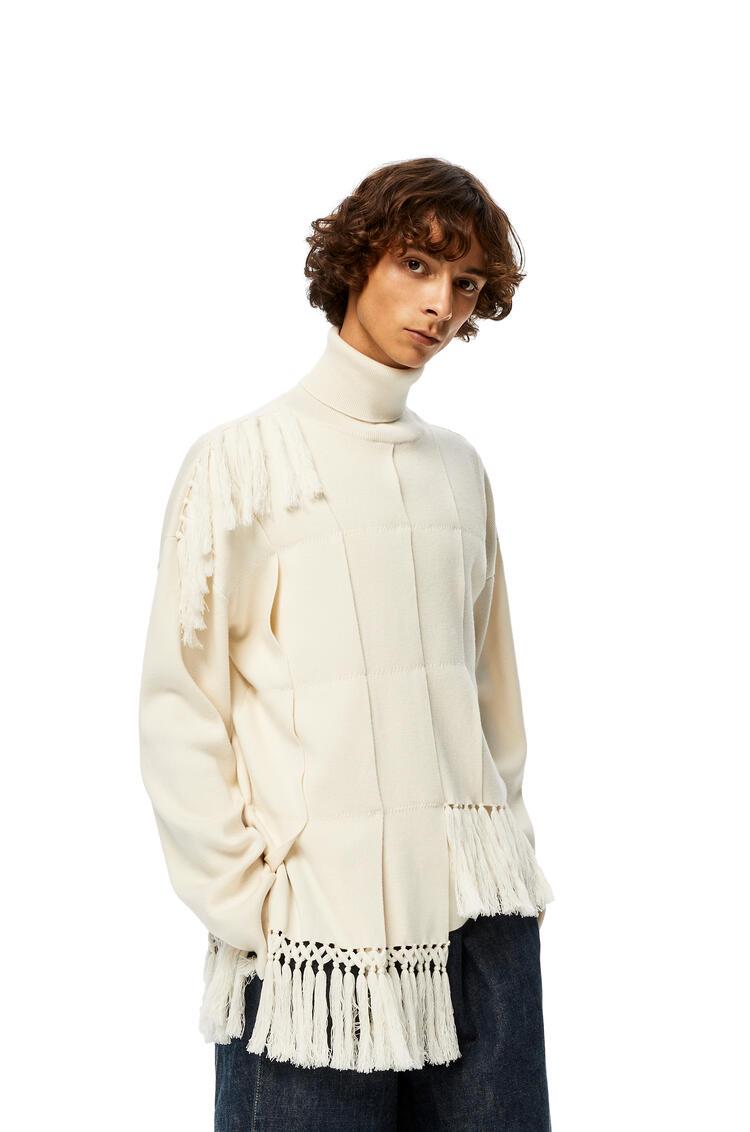 LOEWE High neck asymmetric sweater fringes in hemp Ecru pdp_rd