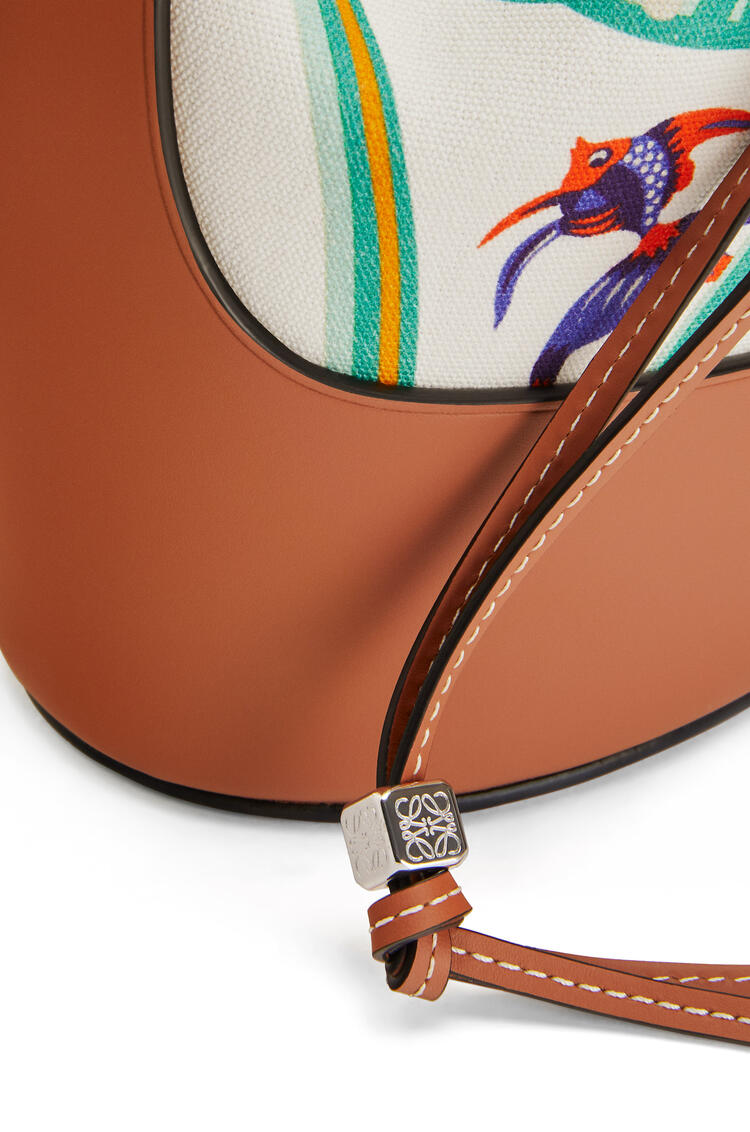 LOEWE Small Balloon bag in printed canvas and calfskin White/Tan pdp_rd
