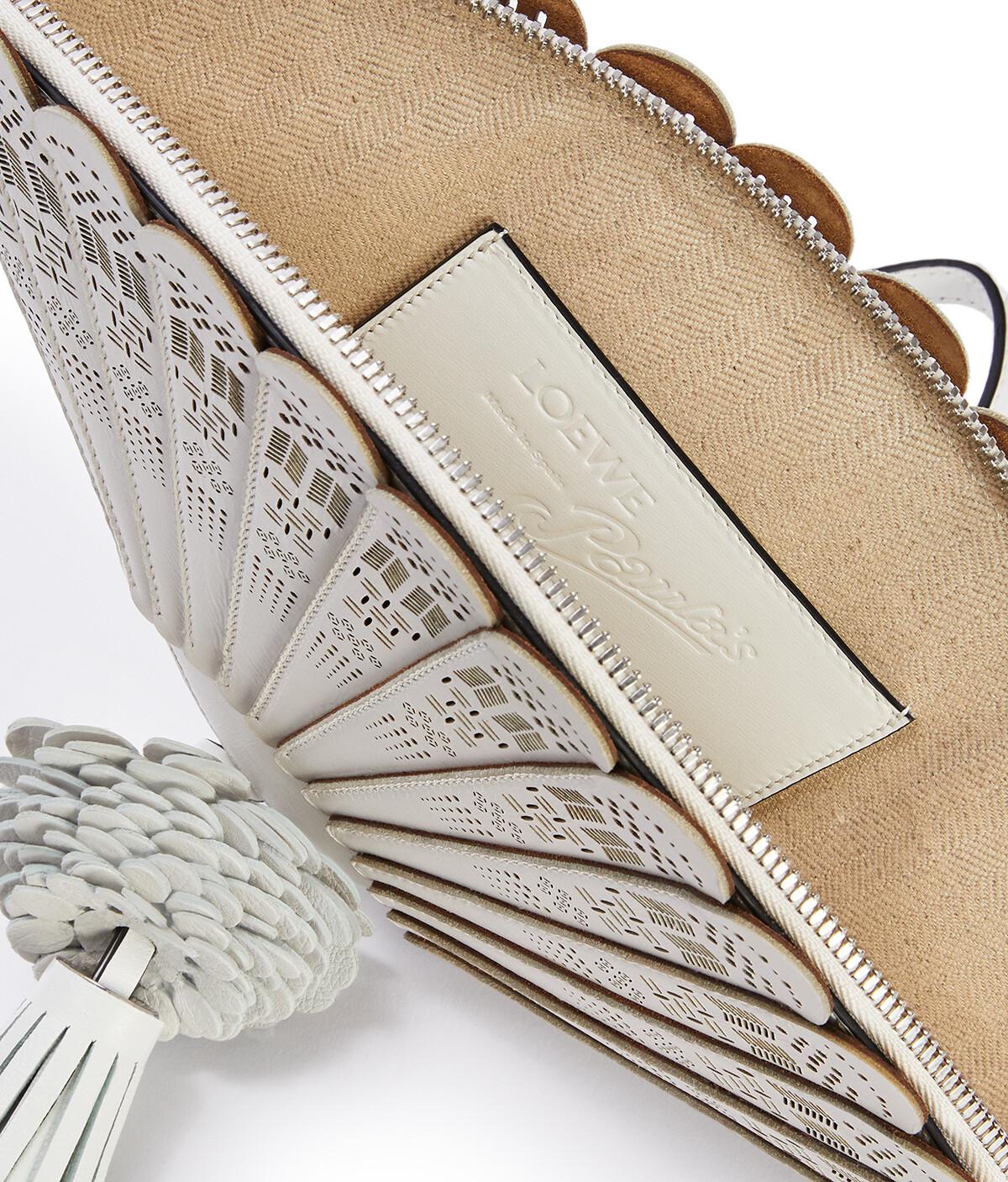 LOEWE Fan Clutch Bag In Box Calfskin White front