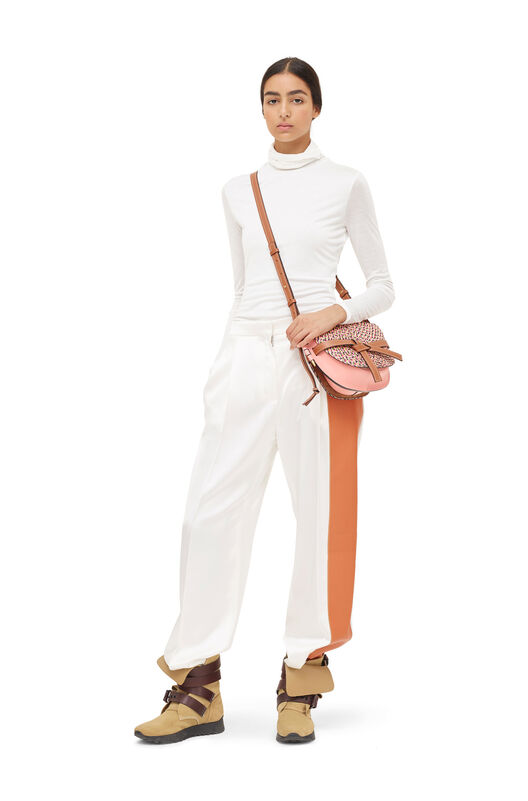 LOEWE Satin Trousers Leather Panel White/Tan front
