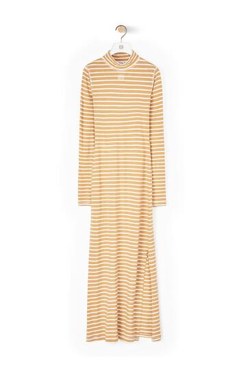 LOEWE Stripe High Neck Jersey Dress Beige front
