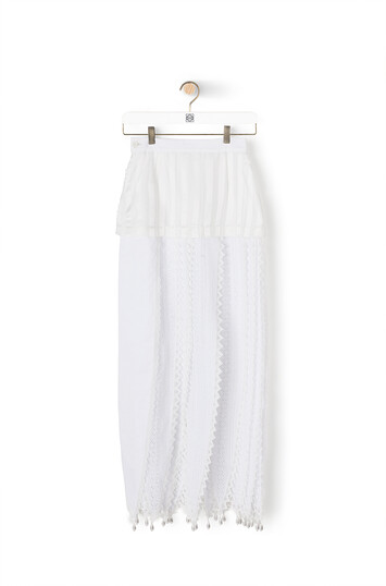 LOEWE Lace Petal Skirt White front