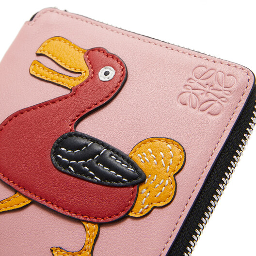 LOEWE Patch Square Zip Wallet Medium Pink front