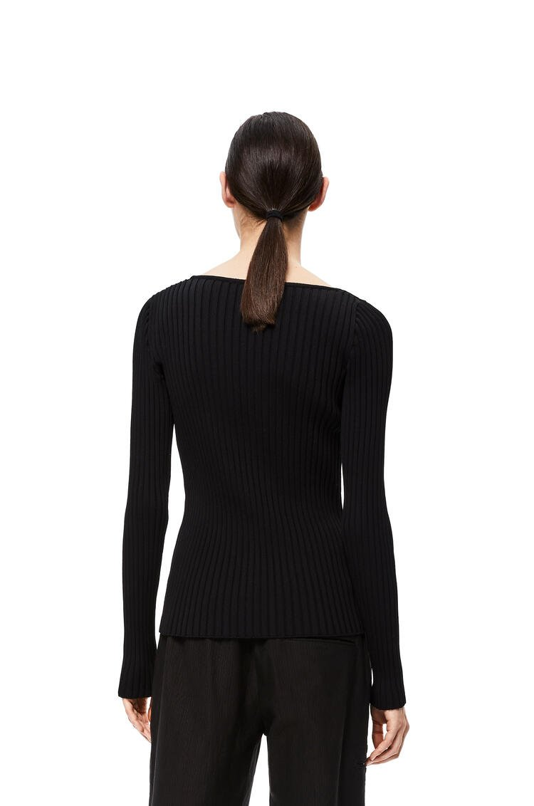 LOEWE Ribbed asym collar sweater in cotton Black pdp_rd