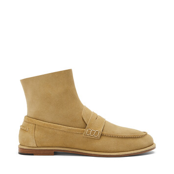 LOEWE Loafer Boot Suede Gold front