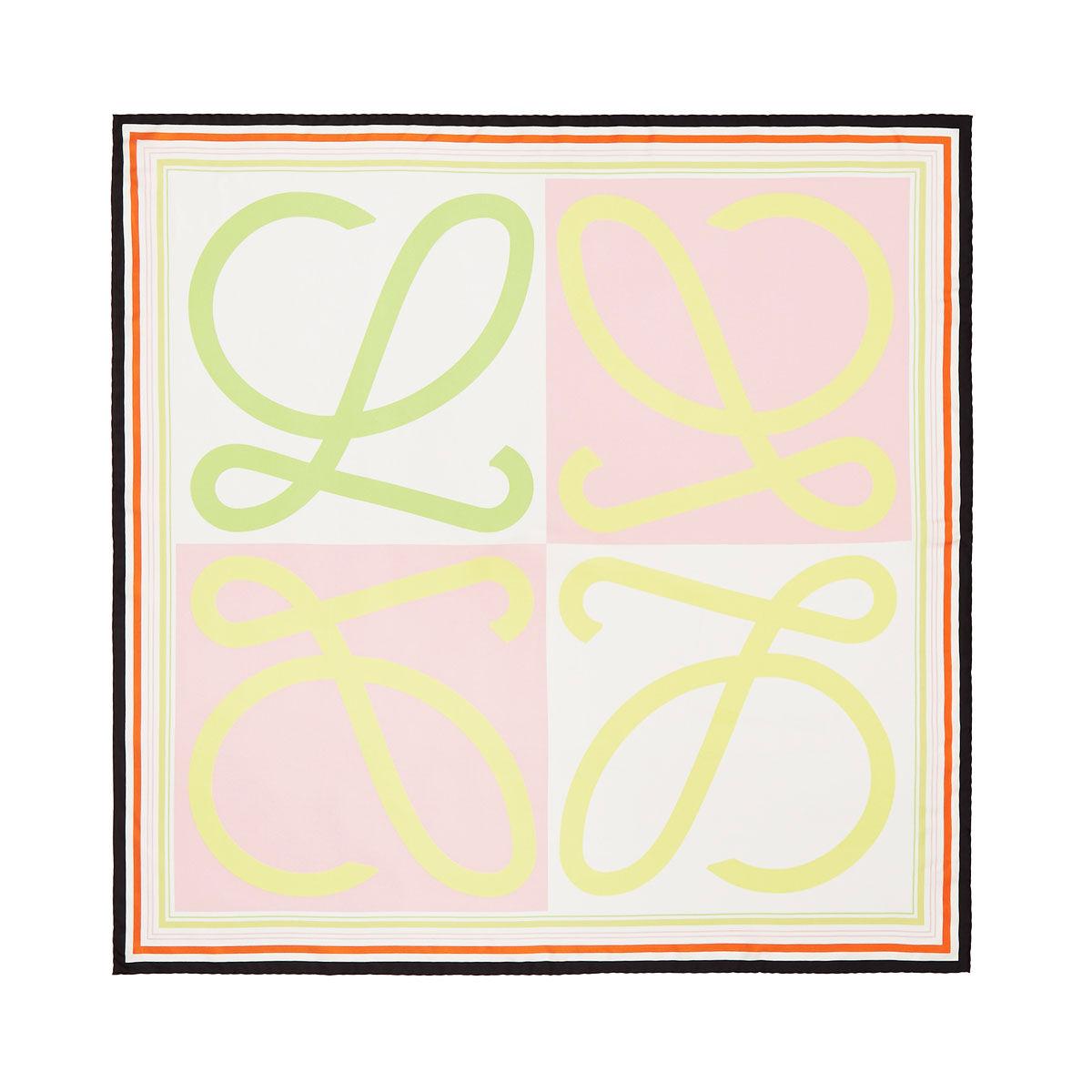 LOEWE 90X90 Scarf Frame Anagram Rosa/Amarillo all
