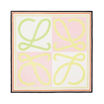 LOEWE 90X90 Scarf Frame Anagram Rosa/Amarillo front