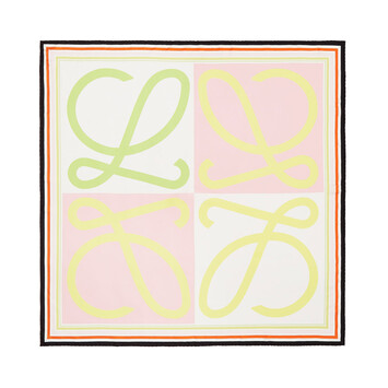 LOEWE 90X90 Scarf Frame Anagram Pink/Yellow front