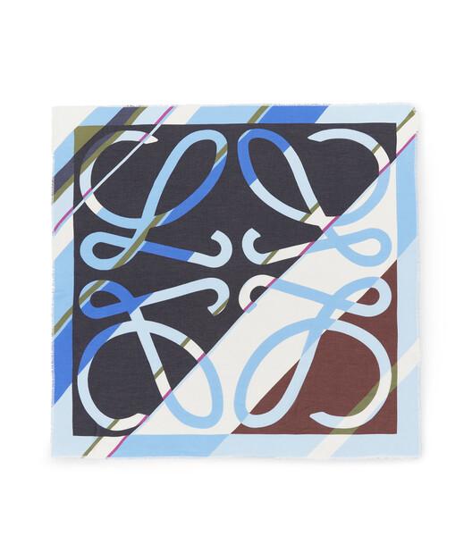 LOEWE 140X140 Scarf Stripe Anagram Blue front