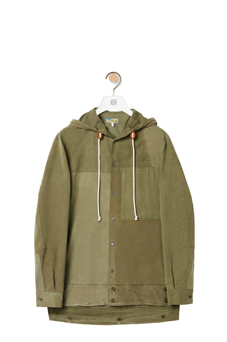 LOEWE Patch pocket hooded shirt in cotton Old Military Green pdp_rd