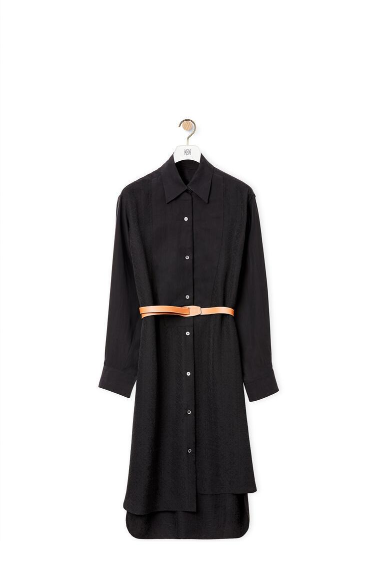 LOEWE Anagram jacquard shirt mini dress in silk Black pdp_rd