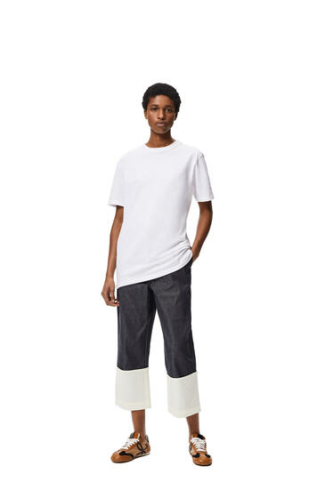 LOEWE 圆形棉质罗纹衣领短袖T恤 白色 pdp_rd