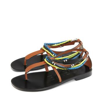 LOEWE Paula Flat Sandal Beads Bronceado front
