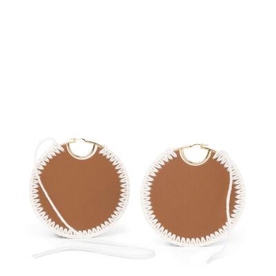 LOEWE Macrame Earrings Tan/Gold front