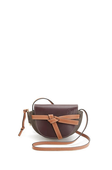 LOEWE Mini Gate bag in soft calfskin Oxblood/Taupe pdp_rd