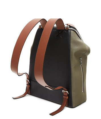 LOEWE Goya Herald Backpack Khaki Green/Black front