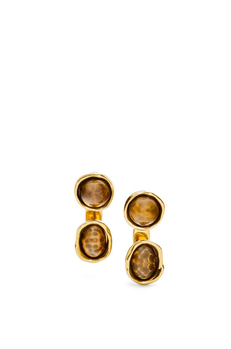 LOEWE Double Tree earrings in metal and resin Brown/Old Gold pdp_rd
