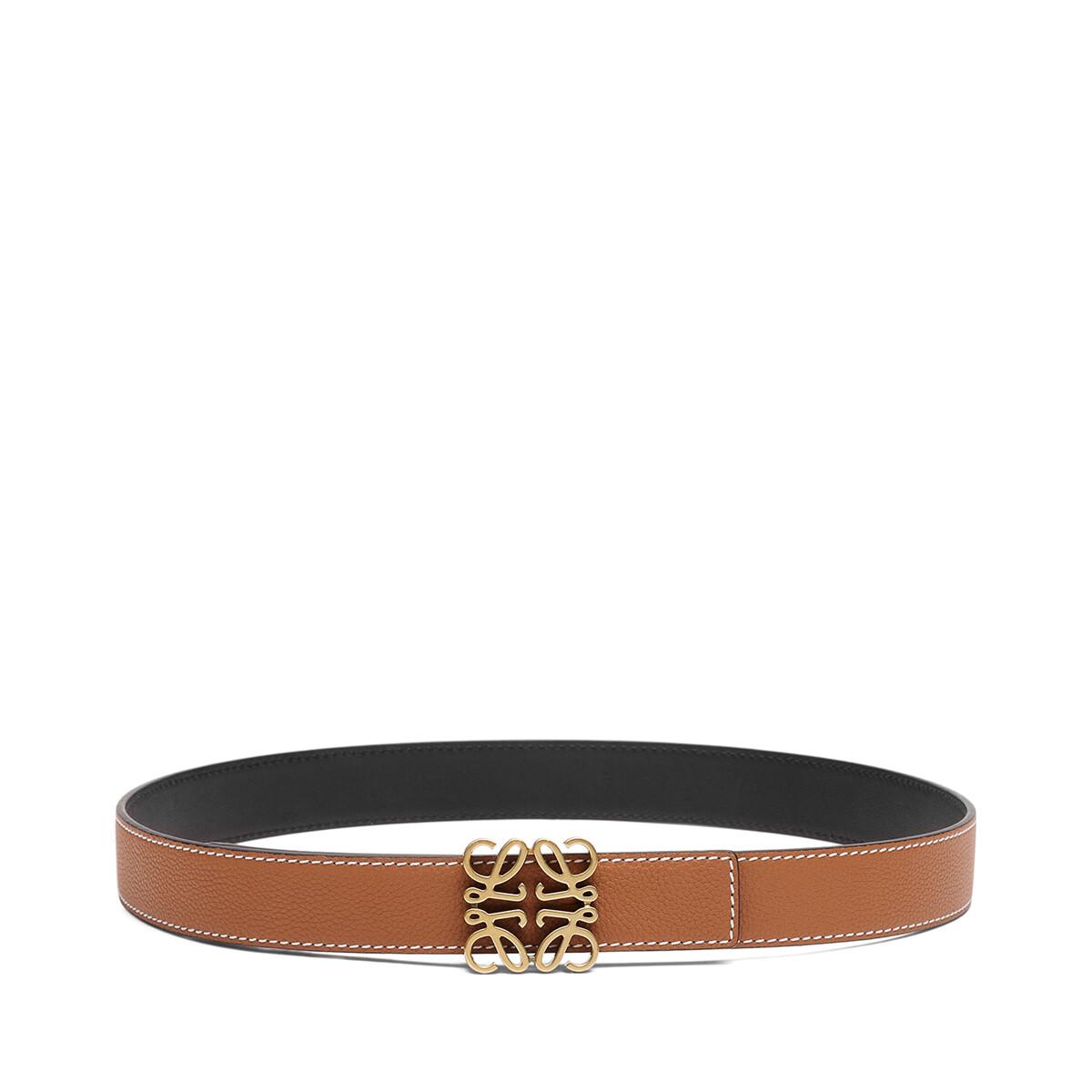 LOEWE Anagram Belt 3.2 Cm Tan/Black/Old Gold front
