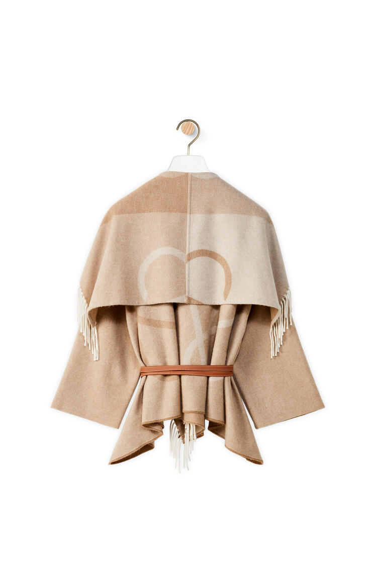 LOEWE Anagram jacquard blanket shawl jacket in wool and cashmere Ecru pdp_rd
