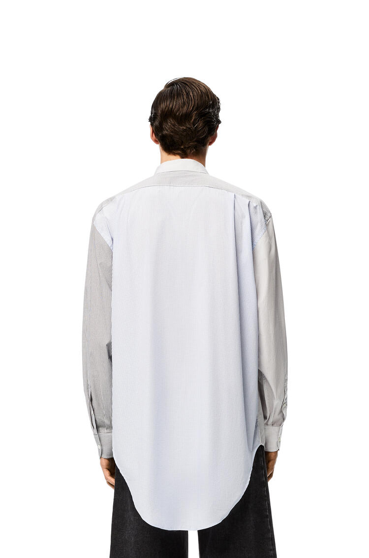 LOEWE Patchwork asymmetric shirt in cotton White/Blue/Black pdp_rd