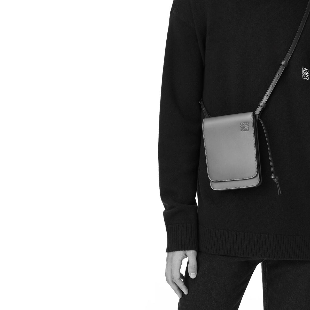 LOEWE Gusset Flat Crossbody Bag Gunmetal front