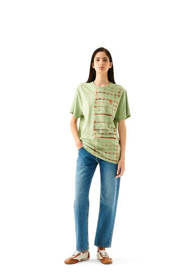 LOEWE Anagram embroidered t-shirt in check cotton Green/Yellow pdp_rd