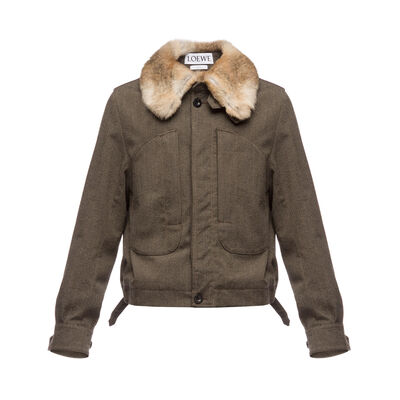 LOEWE Rabbit Collar Blouson Brown front