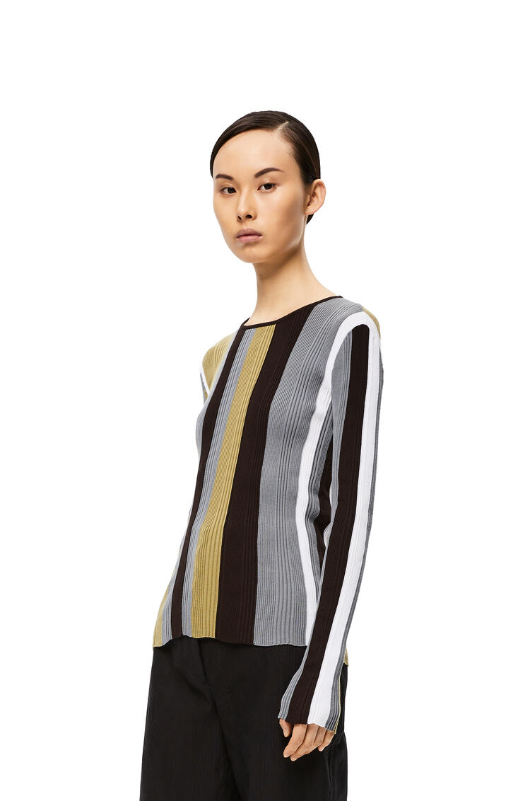 LOEWE Ribbed Knit Top In Striped Cotton White/Khaki Green pdp_rd