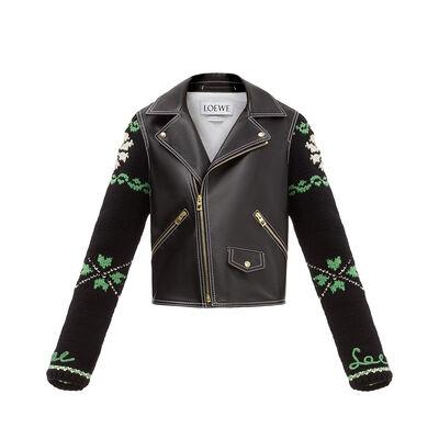 LOEWE Biker Jacket Knit Sleeves 黑色 front