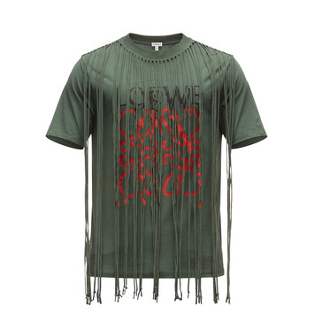 LOEWE T-Shirt Anagram Fringes Green/Red front