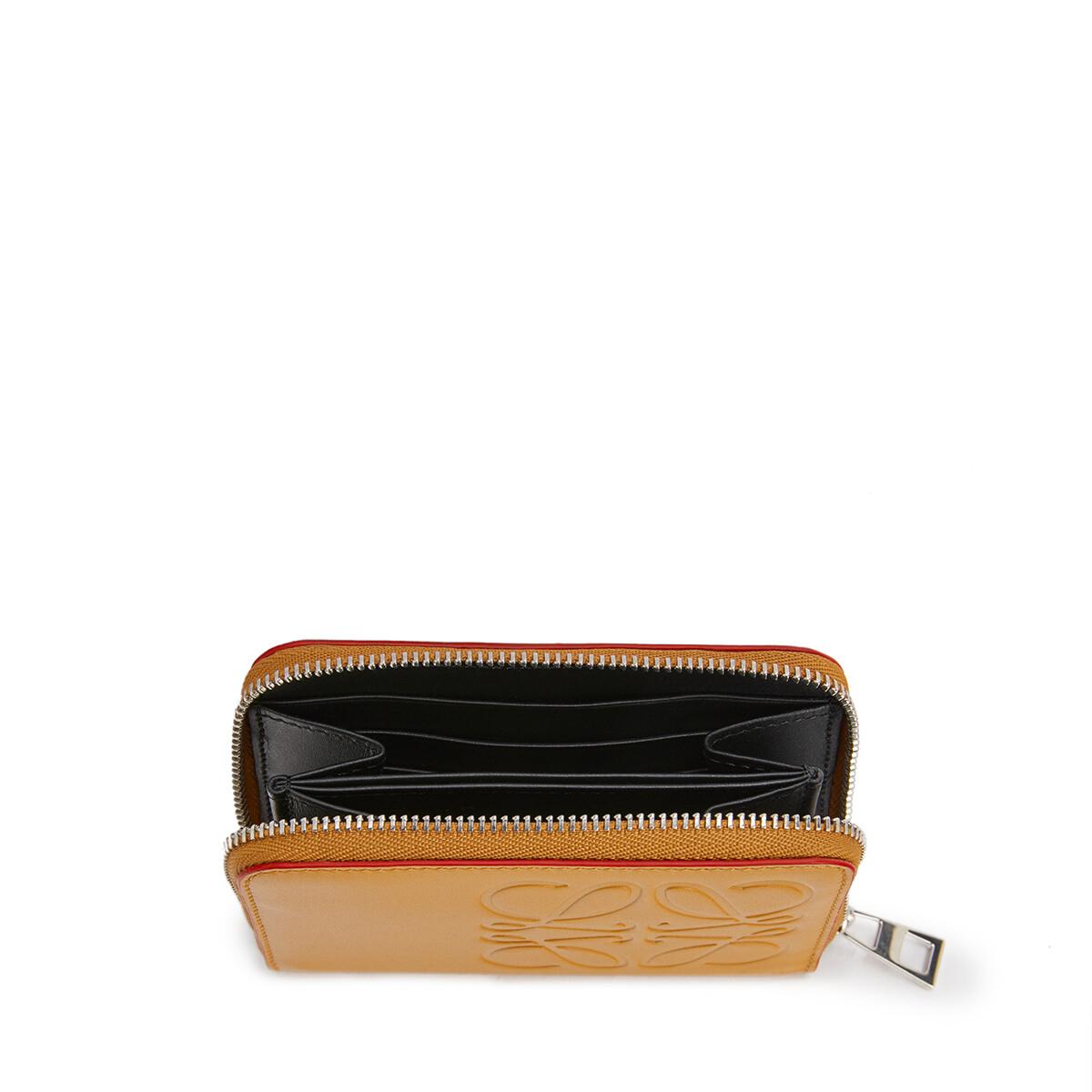 LOEWE Brand 6 Card Zip Wallet ハニー front