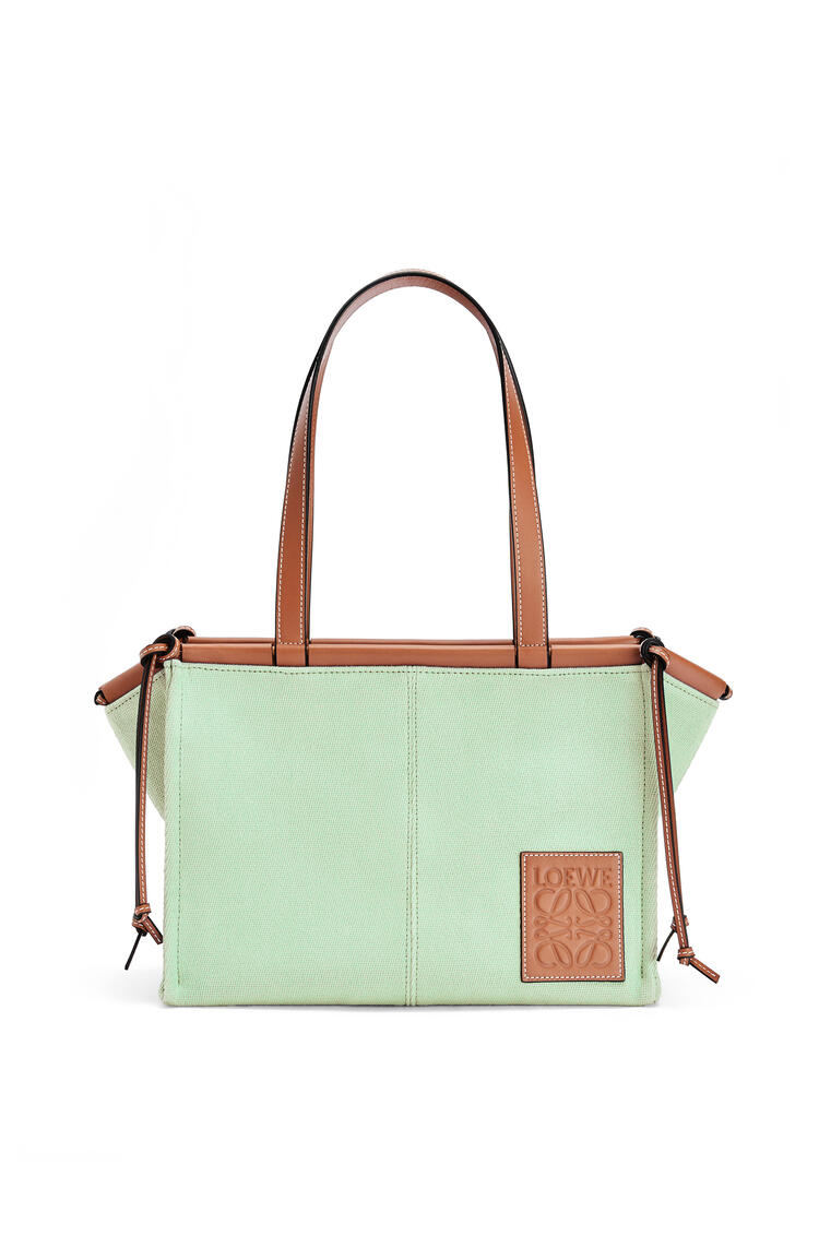 LOEWE Bolso tote Cushion pequeño en lona y piel de ternera Verde Claro pdp_rd