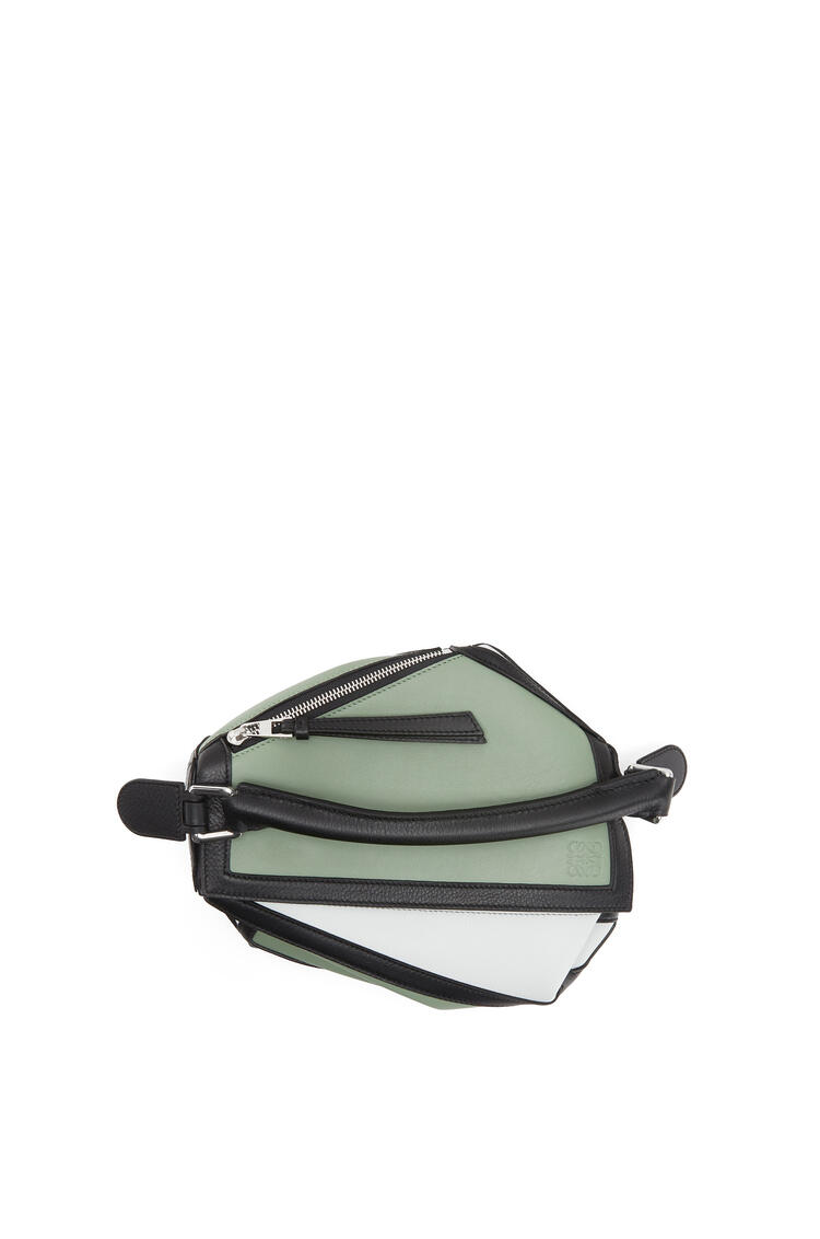 LOEWE Small Puzzle Graphic bag in classic calfskin Pale Green/Kaolin pdp_rd