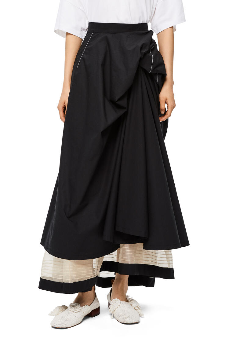 LOEWE Gathered skirt in cotton Black pdp_rd