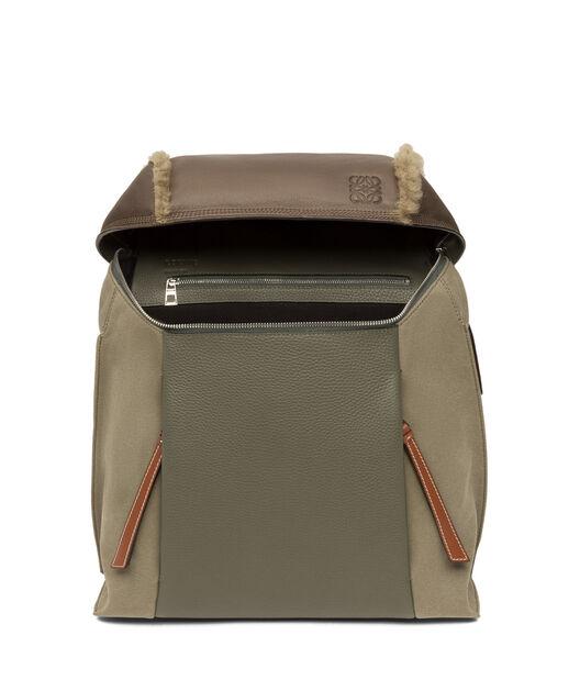 LOEWE T Backpack Small Khaki Gr/Choc Brown/Tan all