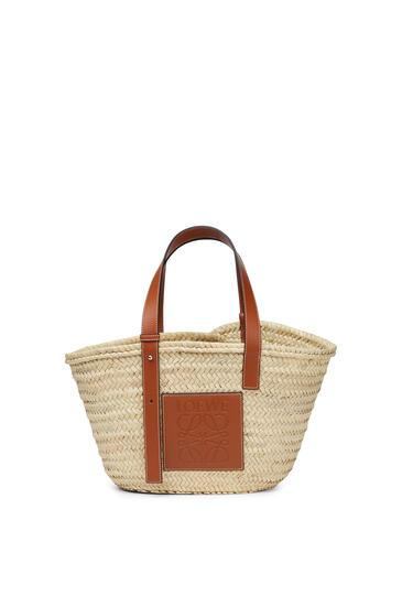 LOEWE Basket Bag In Palm Leaf And Calfskin Natural/Tan pdp_rd