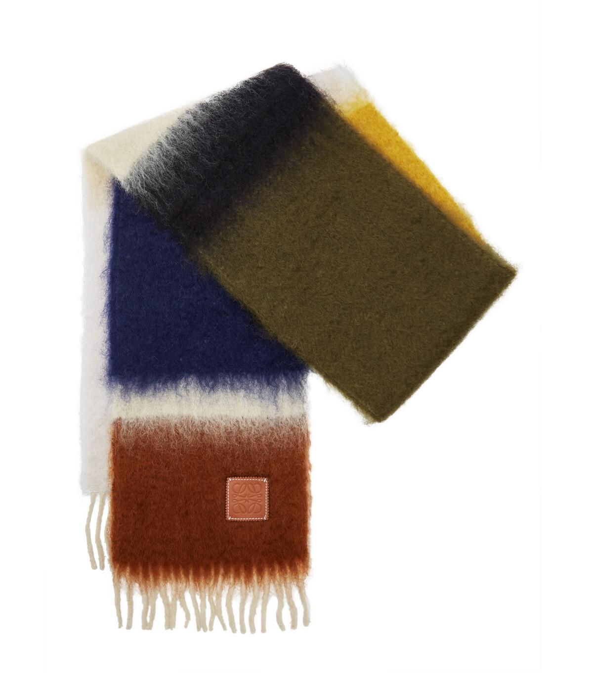 LOEWE 23X185 Scarf Stripes Verde Kaki/Blanco front