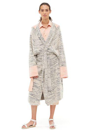 LOEWE Hooded Knit Robe Coat Navy Blue/Orange front