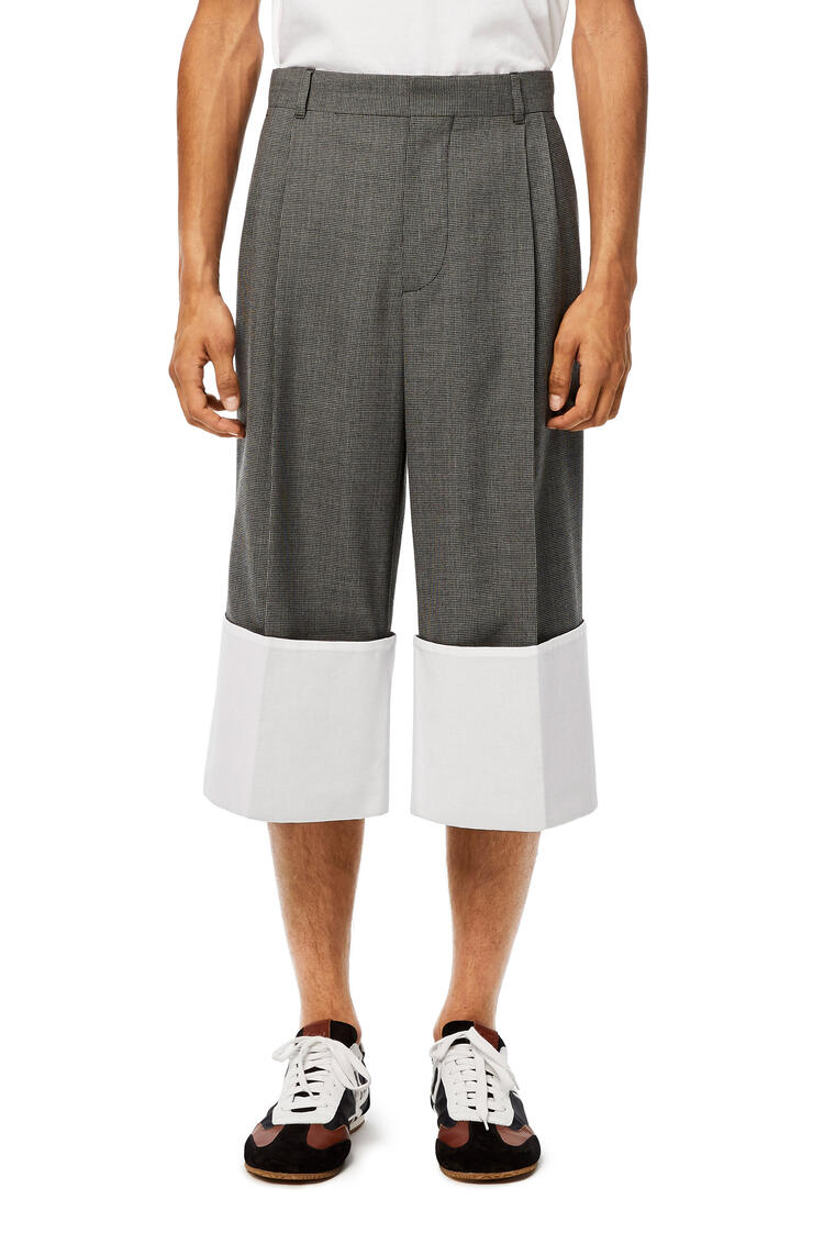 LOEWE Turn up pleated short trousers in polyester Black/Grey/White pdp_rd